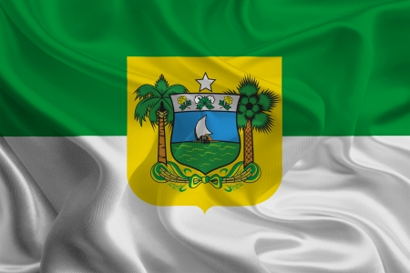 Brazil State Flags  Waving Fabric Flag of Rio Grande do Norte photo