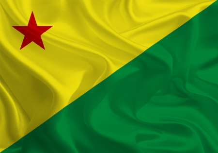acre: Brazil State Flags  Waving Fabric Flag of Acre Stock Photo