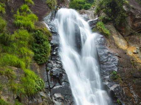 Long exposure shot of a beautiful waterfall Stock Photo