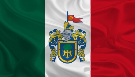 Mexican State Flags  Waving Fabric Flag of Jalisco photo