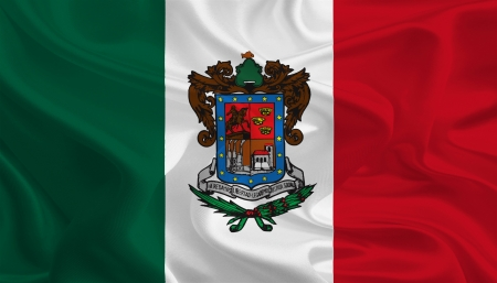 ocampo: Mexican State Flags  Waving Fabric Flag of Michoac�n de Ocampo Stock Photo
