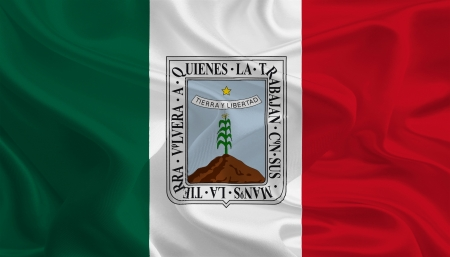 political division: Mexican State Flags  Waving Fabric Flag of Morelos Stock Photo
