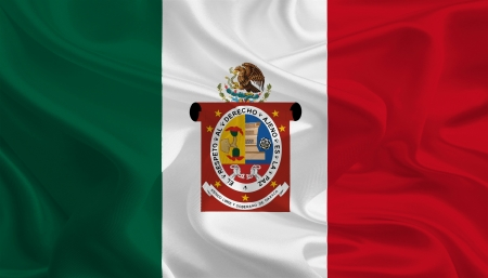 Mexican State Flags  Waving Fabric Flag of Oaxaca photo