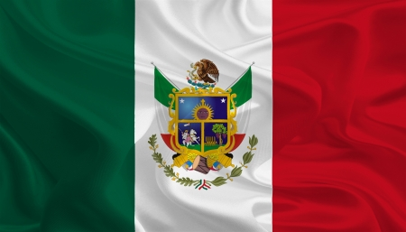 political division: Mexican State Flags  Waving Fabric Flag of Querétaro de Arteaga