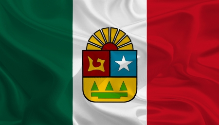 roo: Mexican State Flags  Waving Fabric Flag of Quintana Roo