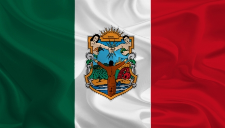 Mexican State Flags  Waving Fabric Flag of Baja California photo