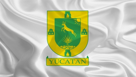 Mexican State Flags  Waving Fabric Flag of Yucat�n photo