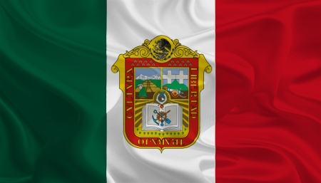 Mexican State Flags  Waving Fabric Flag of M�xico photo