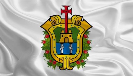 ignacio: Mexican State Flags  Waving Fabric Flag of Veracruz de Ignacio de la Llave Stock Photo