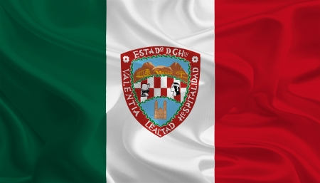 Mexican State Flags  Waving Fabric Flag of Chihuahua photo