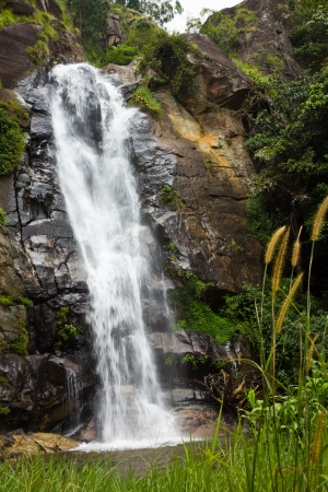 Upper part of the Bambarakanda Waterfalls, Sri Lanka photo