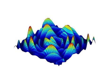Mooie gekleurde 3D-grafiek van een wiskundige functie Stock Illustratie