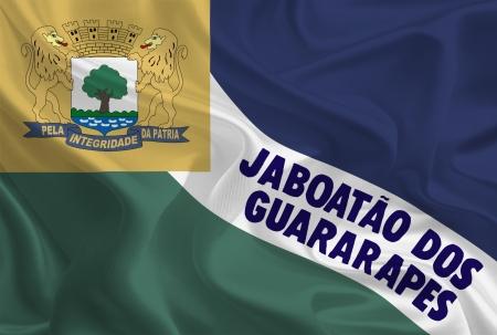 dos: Brazil City Flags  Waving Fabric Flag of Jaboatão dos Guararapes Stock Photo