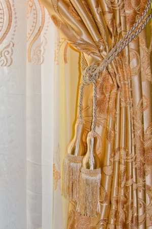 gold colored curtain Stock Photo - 20597398