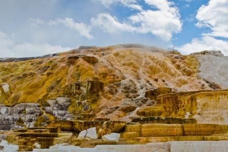 The spectacular landscape of Mammoth Hot Springs in Yellowstone National Park photo