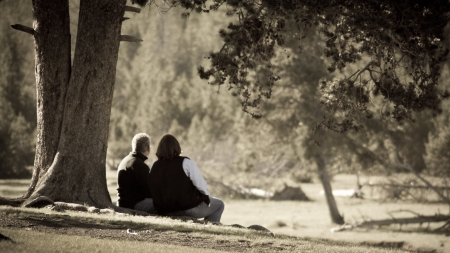 dating: Old couple in a park Stock Photo