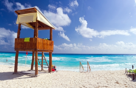watch tower on a tropical beach photo