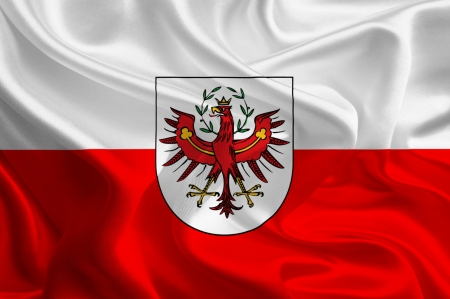 tirol: Austrian State Flags  Waving Fabric Flag of Tyrol