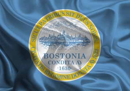 Waving Fabric Flag of Boston photo
