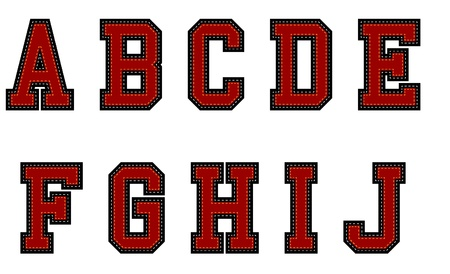 Red Fabric alphabet Vector