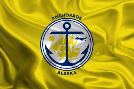 anchorage: USA City Flags  Anchorage Stock Photo