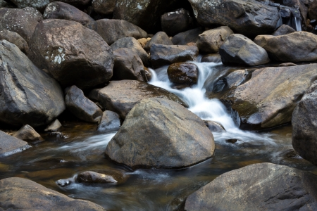 Kleine rivier stroomt door rotsen