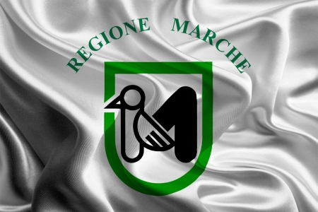 Flags of regions of Italy  the Marches Stock Photo - 22533343