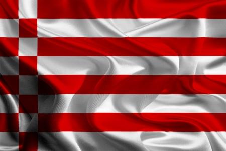 bremen: Waving Fabric Flags of German States  Bremen Stock Photo