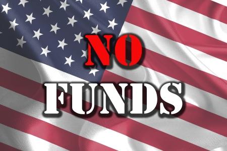 shutdown: USA Government Shutdown Text Message on Flag