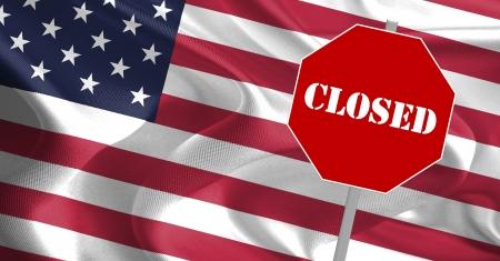 USA Government Shutdown Text Message on Flag