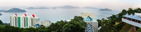 beautiful location: Scenic sea view panorama from the Hong Kong University of Science and Technology  HKUST  on in Hong Kong, China  HKUST is famous for it s beautiful location  Editorial