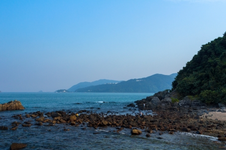 Scenic view of the beach next to the Hong Kong University of Science and Technology  HKUST  in Hong Kong, China photo