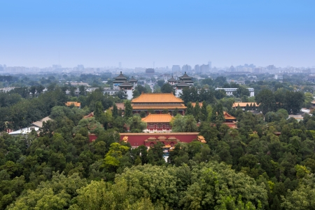 people's cultural palace: Looking north from atop Jingshan Hill along Di anmen Avenue to the Drum Tower of Beijing  Di anmen Avenue runs along Beijing s median axis  Dongcheng District is to the right and Xicheng is to the left