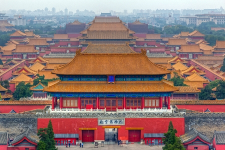 Verboden Stad in een nevelige ochtend, Beijing, China