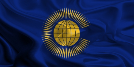 commonwealth: Waving Fabric Flag of the Commonwealth of Nations Stock Photo