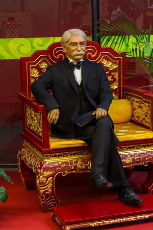 coubertin: The wax statue of Pierre de Coubertin, former chairman of the international Olympic committee  IOC  located in Beijing National Stadium, China
