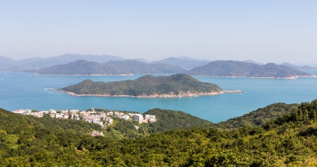boatman: View of Shelter Island from High Junk Peak Country Hiking Trail in Hong Kong