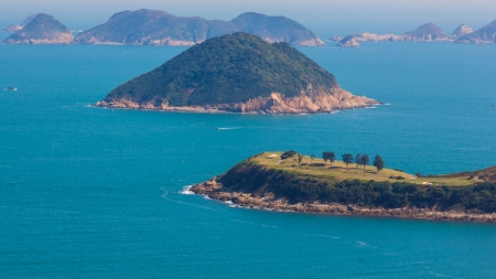 country club: The Clearwater Bay Golf   Country Club in Hong Kong, China in a misty day