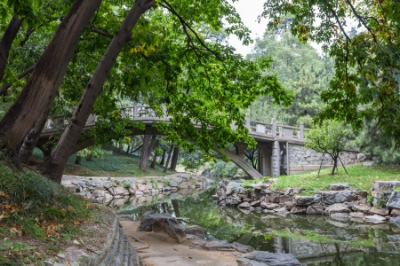 Footpath along a water stream in Summer palace, Beijing, China photo