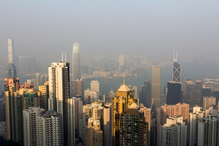 contaminacion del aire: Hong Kong horizonte de la contaminaci�n Victoria Peak aire se ha convertido en un problema enorme en Hong Kong