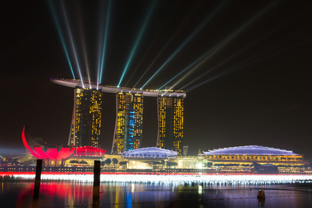 Night view of Marina Bay Sands Resort Hotel in Singapore It\ is billed as the world s most expensive standalone casino property\