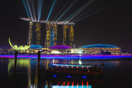 world's: Night view of Marina Bay Sands Resort Hotel in Singapore  It is billed as the world s most expensive standalone casino property