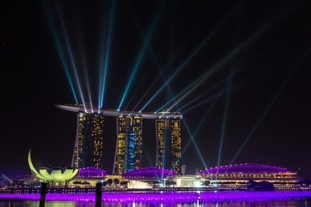 standalone: Night view of Marina Bay Sands Resort Hotel in Singapore  It is billed as the world s most expensive standalone casino property