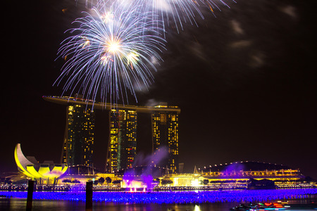 Fireworks over Marina Bay Hotel and Resort, World s most expensive standalone casino property in Singapore at S 8 billion