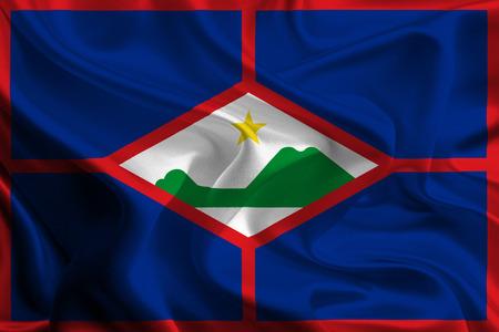 holand: Waving Fabric Flag of Sint Eustatius  Stock Photo