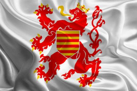 limburg: Waving Fabric Flags of Provinces of Belgium  Limburg  Stock Photo