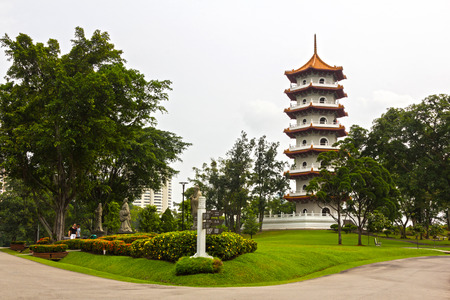 festively: The big pagoda in the Chinese garden, Singapore
