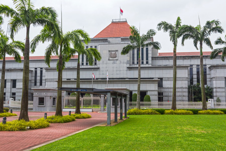 The Singapore Parliament building on a part of High Street that was renamed Parliament Place, was completed in 1999   Stock Photo