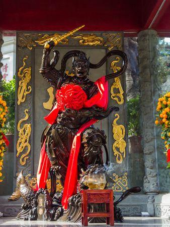 Statue of a warrior Sik Sik Yuen Wong Tai Sin Temple  It is one of the largest and commemorates the famous monk of yore, Wong Tai Sin  also known as Huang Chu-ping
