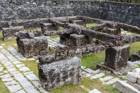 walled: Ruins in Kowloon Walled city park - Hong Kong  Editorial
